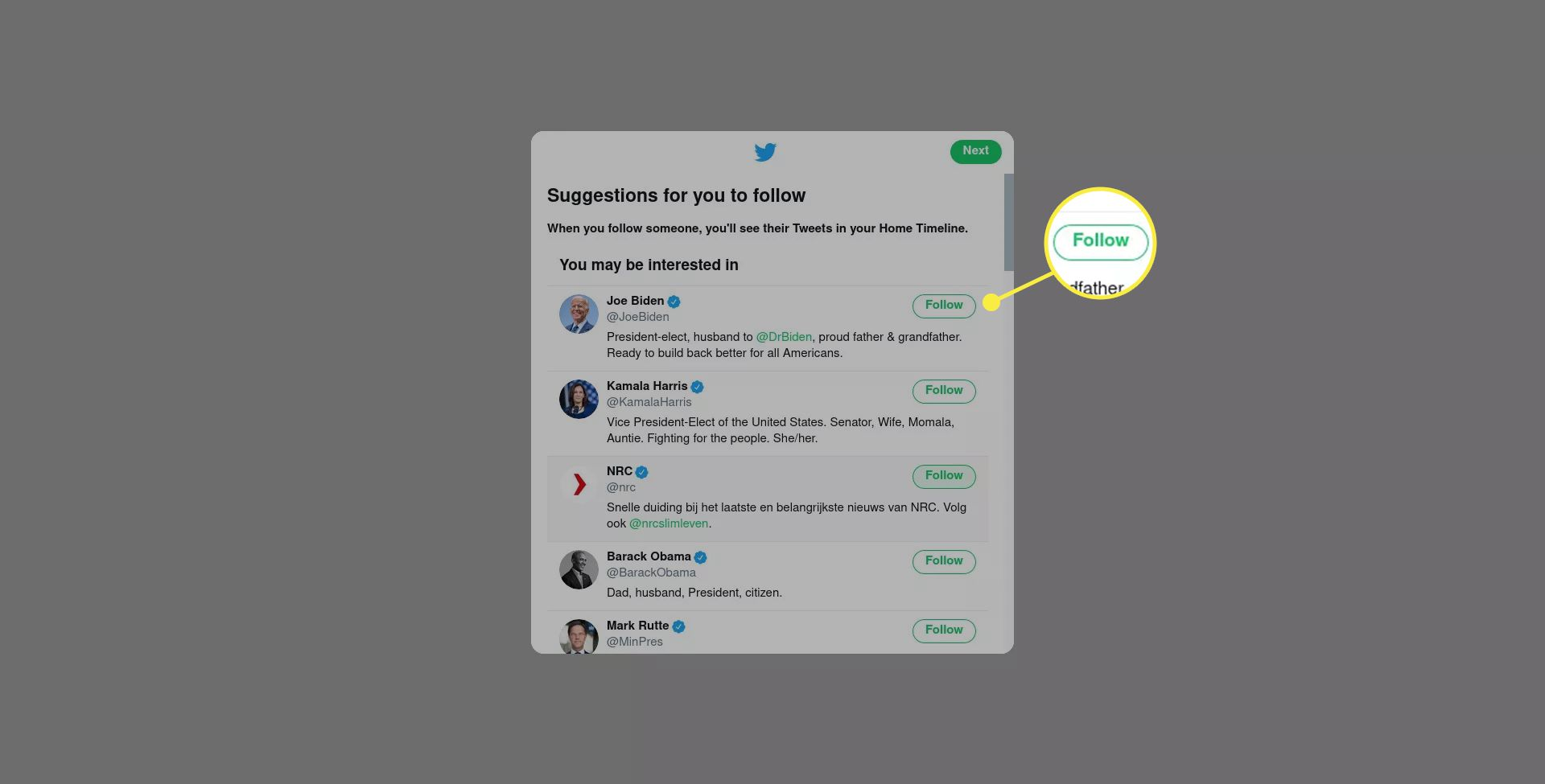 Twitter suggests followers to a new user