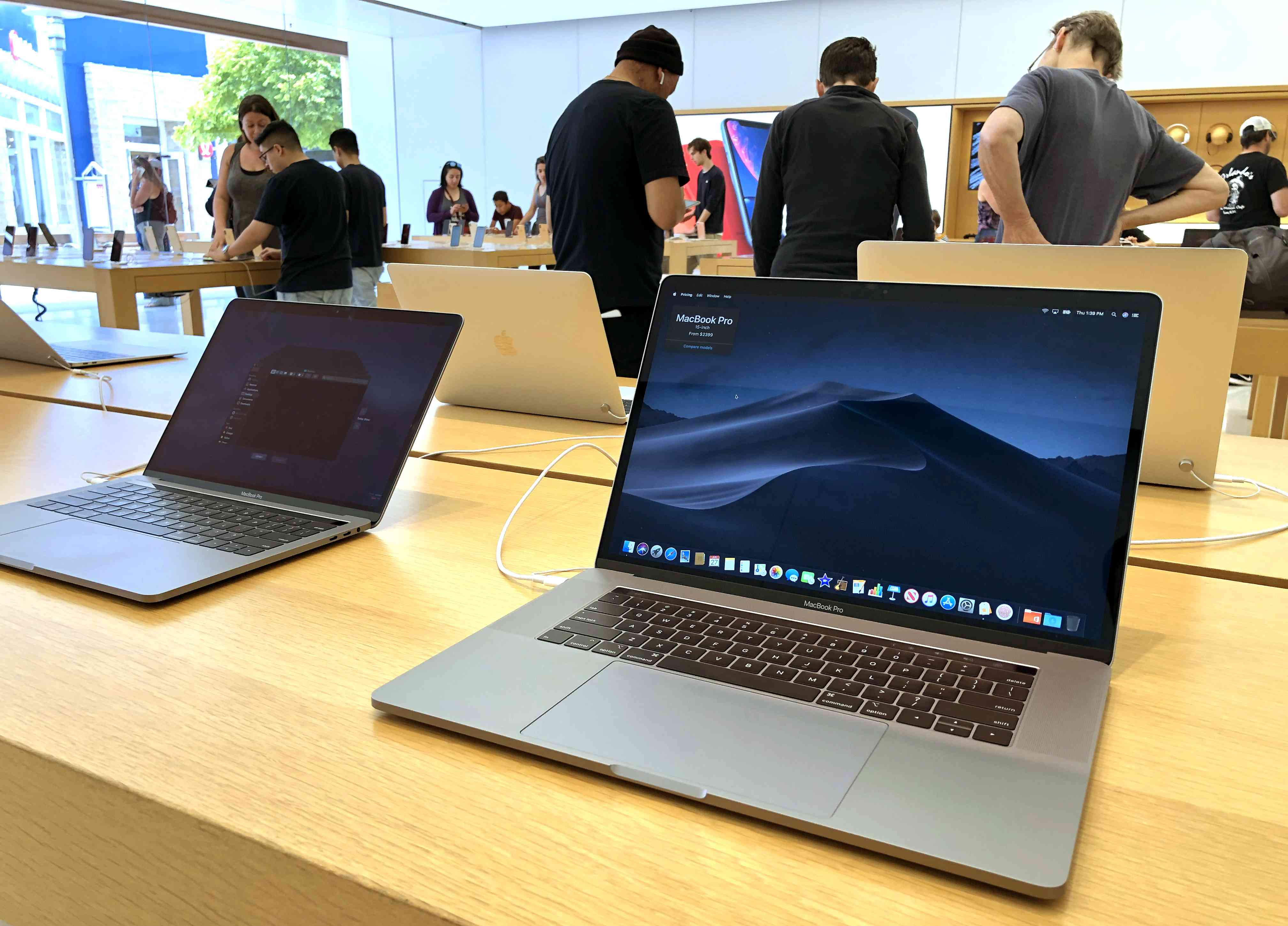 MacBook Pro laptop is displayed at an Apple Store