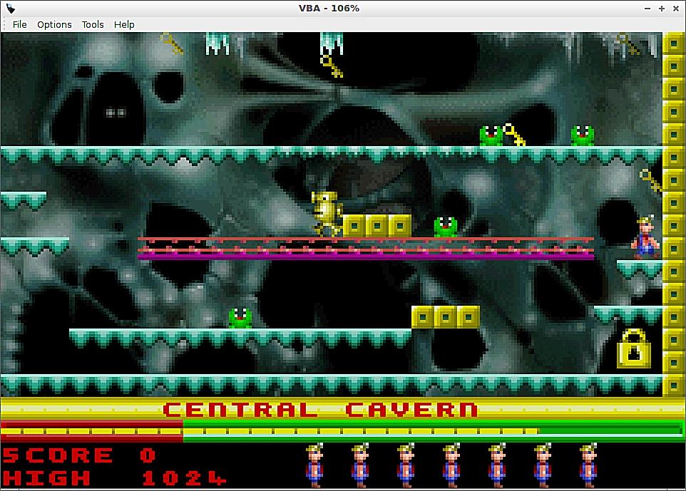 Manic Miner on Visual Boy Advance game emulator