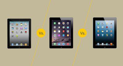 iPad 2 vs iPad 3 vs iPad 4