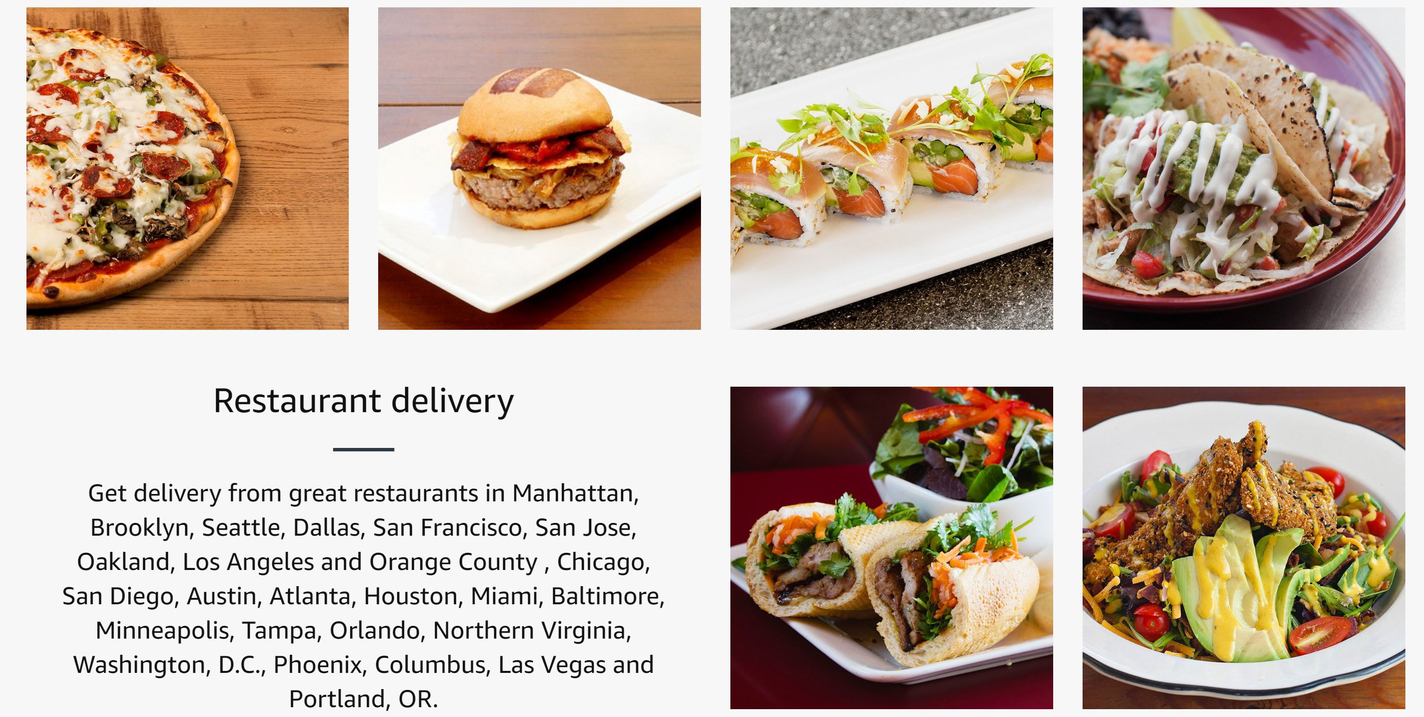 Amazon Prime Now Restaurant delivery section
