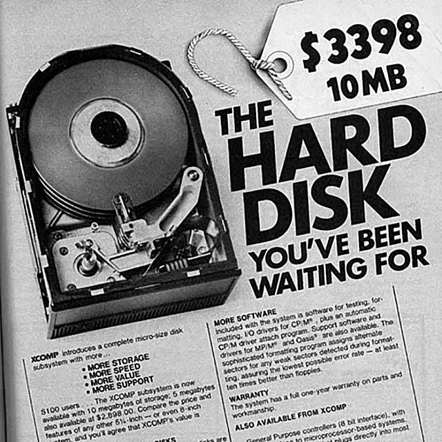 Photo of an advertisement for a 10 MB XCOMP hard disk drive