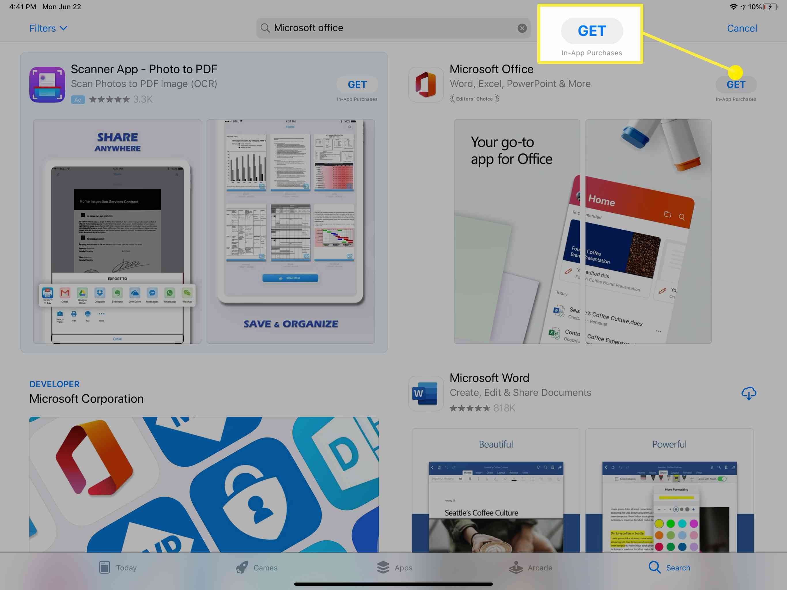 The Microsoft Office app in the App Store.