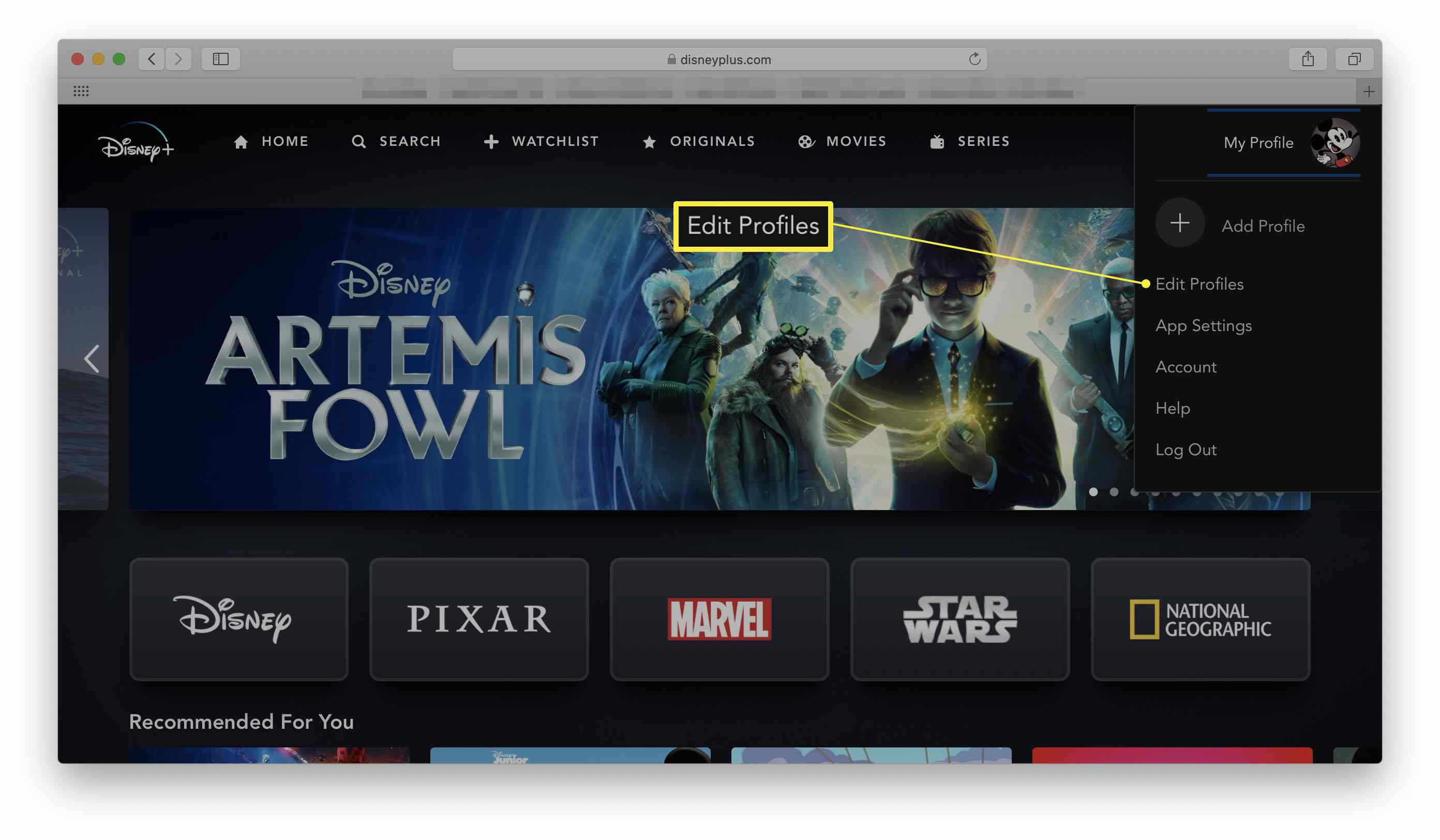 Disney+ with the Edit Profiles dialog highlighted