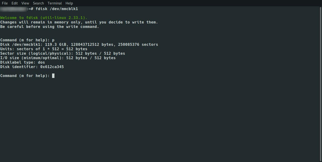 Linux fdisk list partitions from console