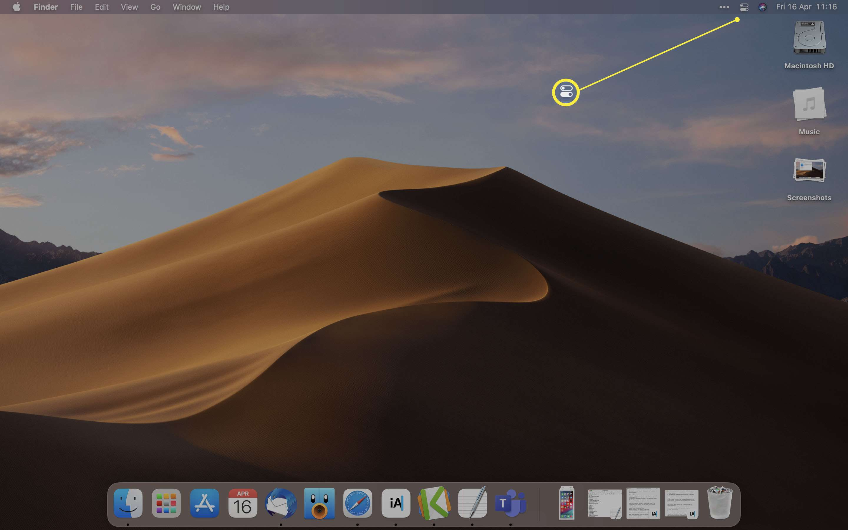 MacOS with Control Center icon highlighted