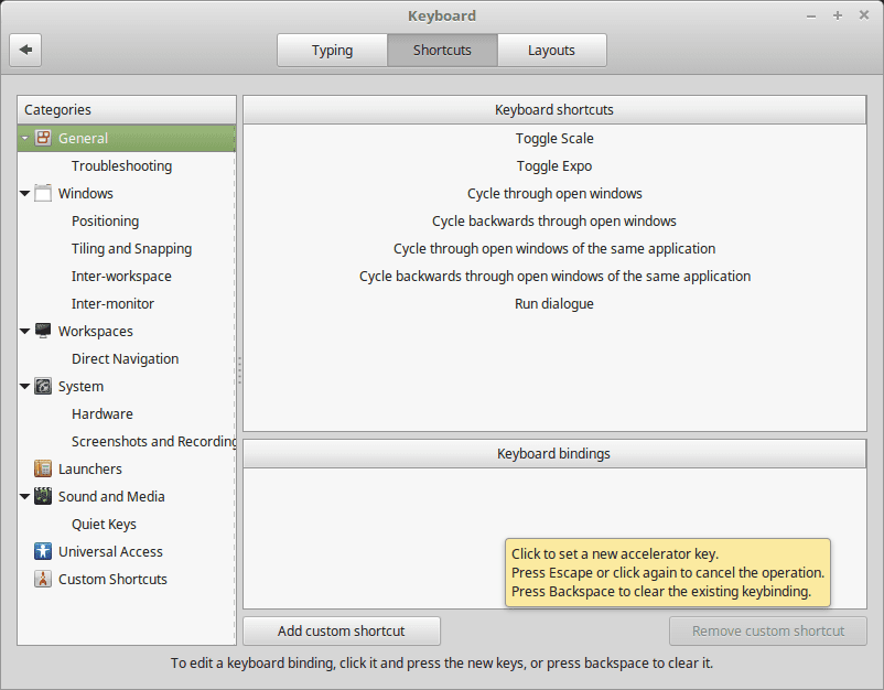 How To Change The Linux Mint Cinnamon Keyboard Shortcuts