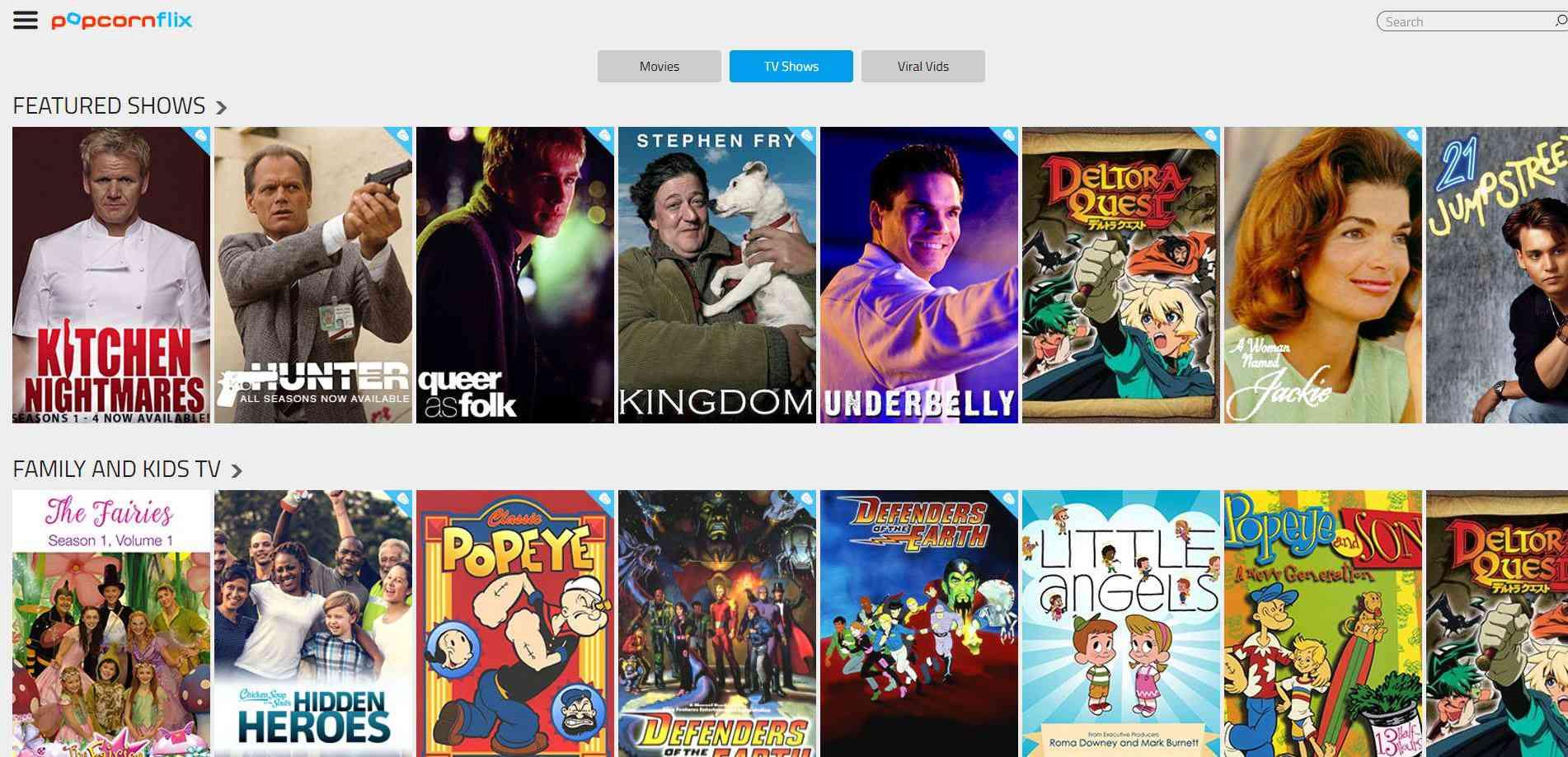 Popcorn Flix website