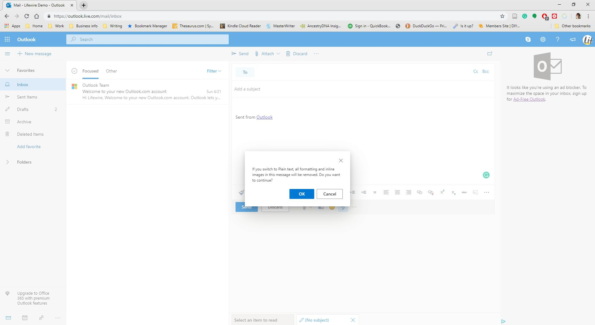 A confirmation about switching to plain text in Outlook.com.