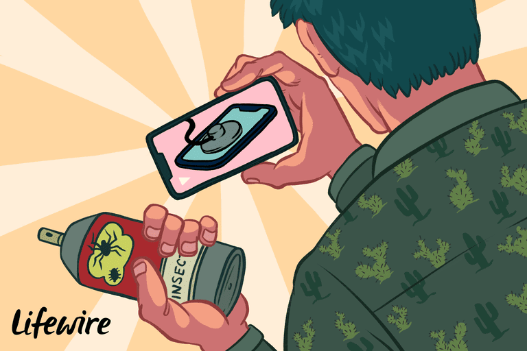 Illustration of person holding an iPhone and a can of bug repellant