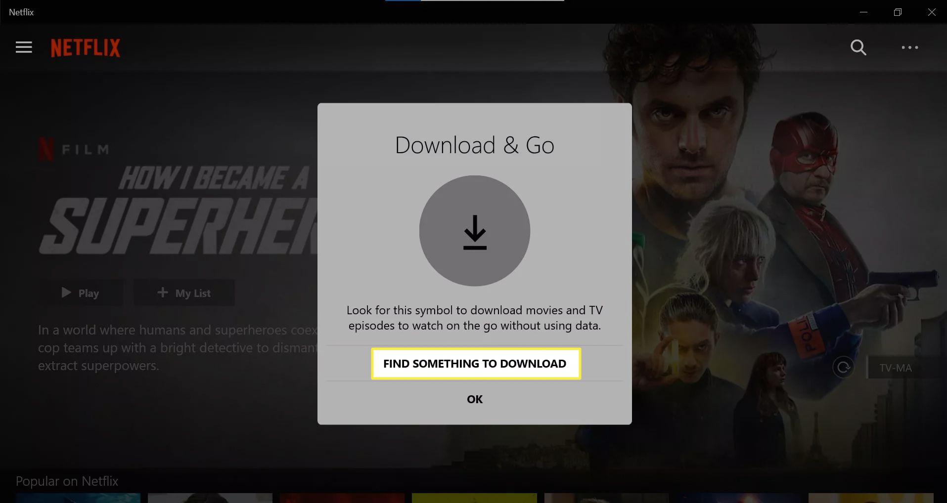 Download & Go notification on Netflix Windows app.