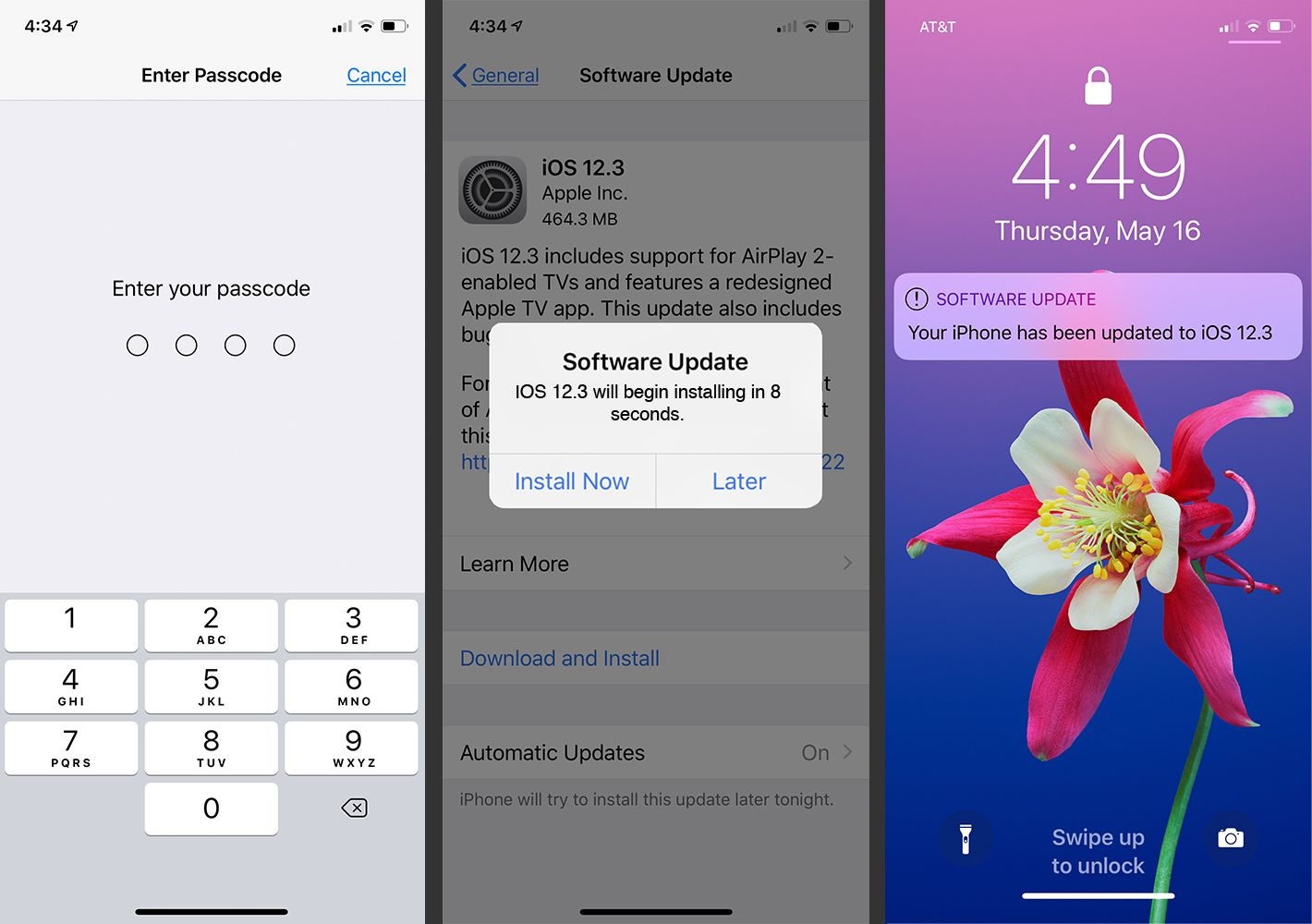 The Passcode, Software Update and Lock screens on the iPhone