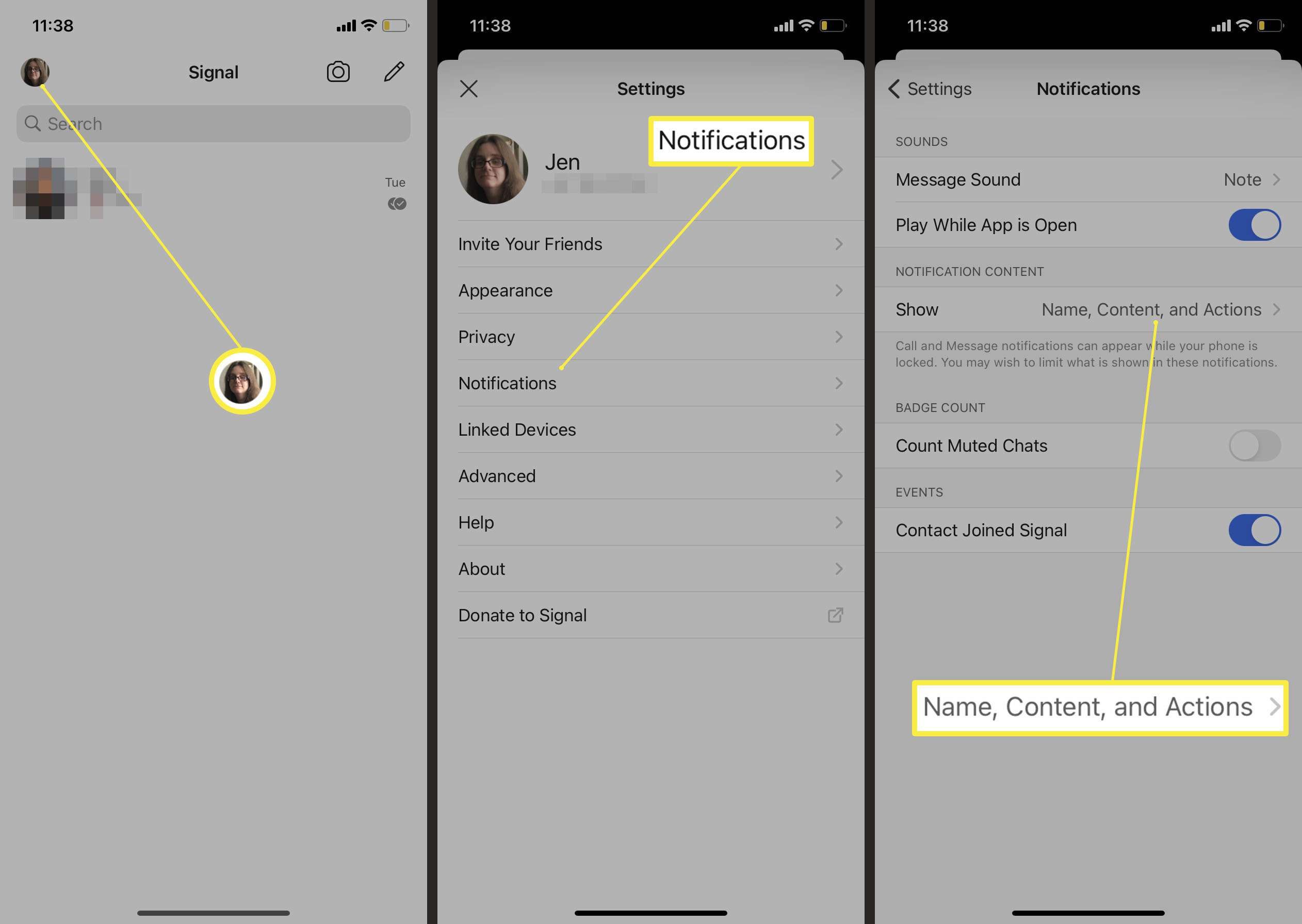 Signal Notification settings with Name, Content and Actions highlighted