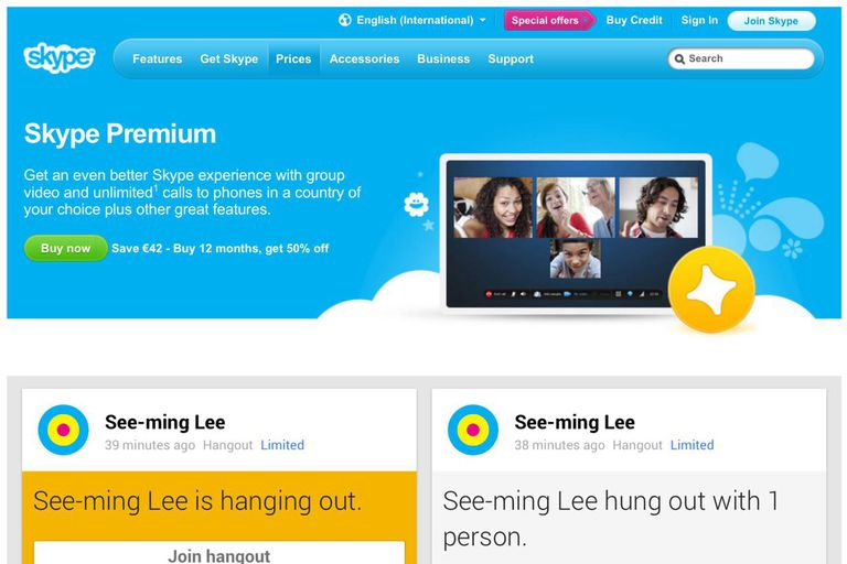 Skype screen share becomes premium; Google+ Hangout = free