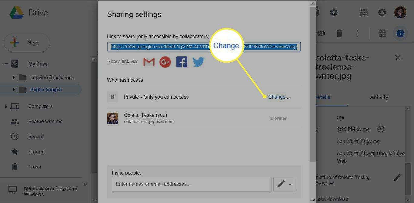 how to make an image stored on Google Drive public for Google images upload