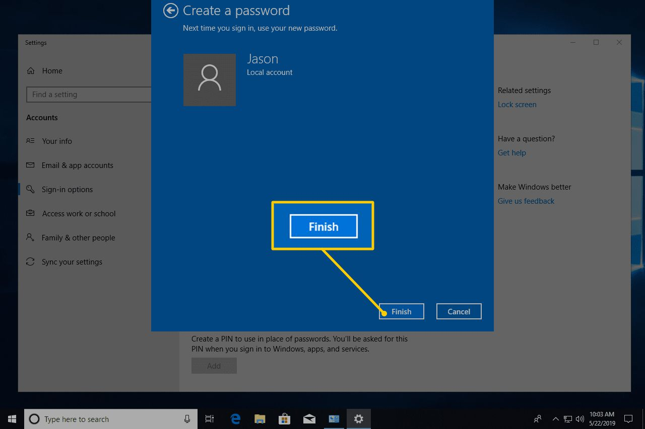 Finish button in Create a password