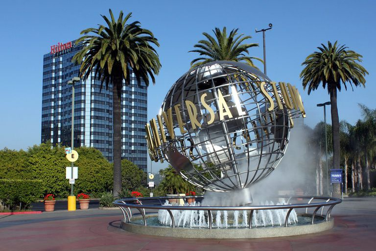 Universal Studios globe with palm trees in background