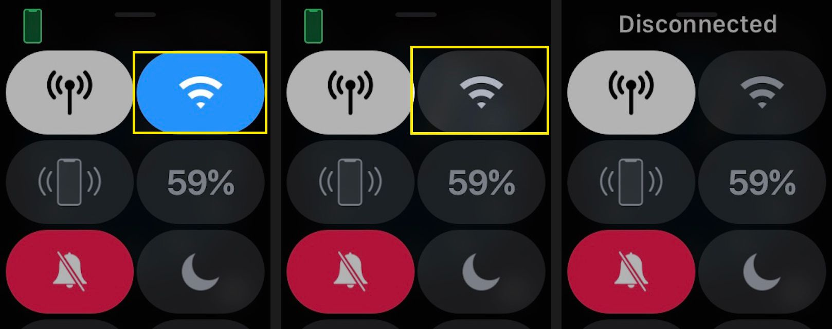 Tap the Wi-Fi icon to turn Wi-Fi on or off.