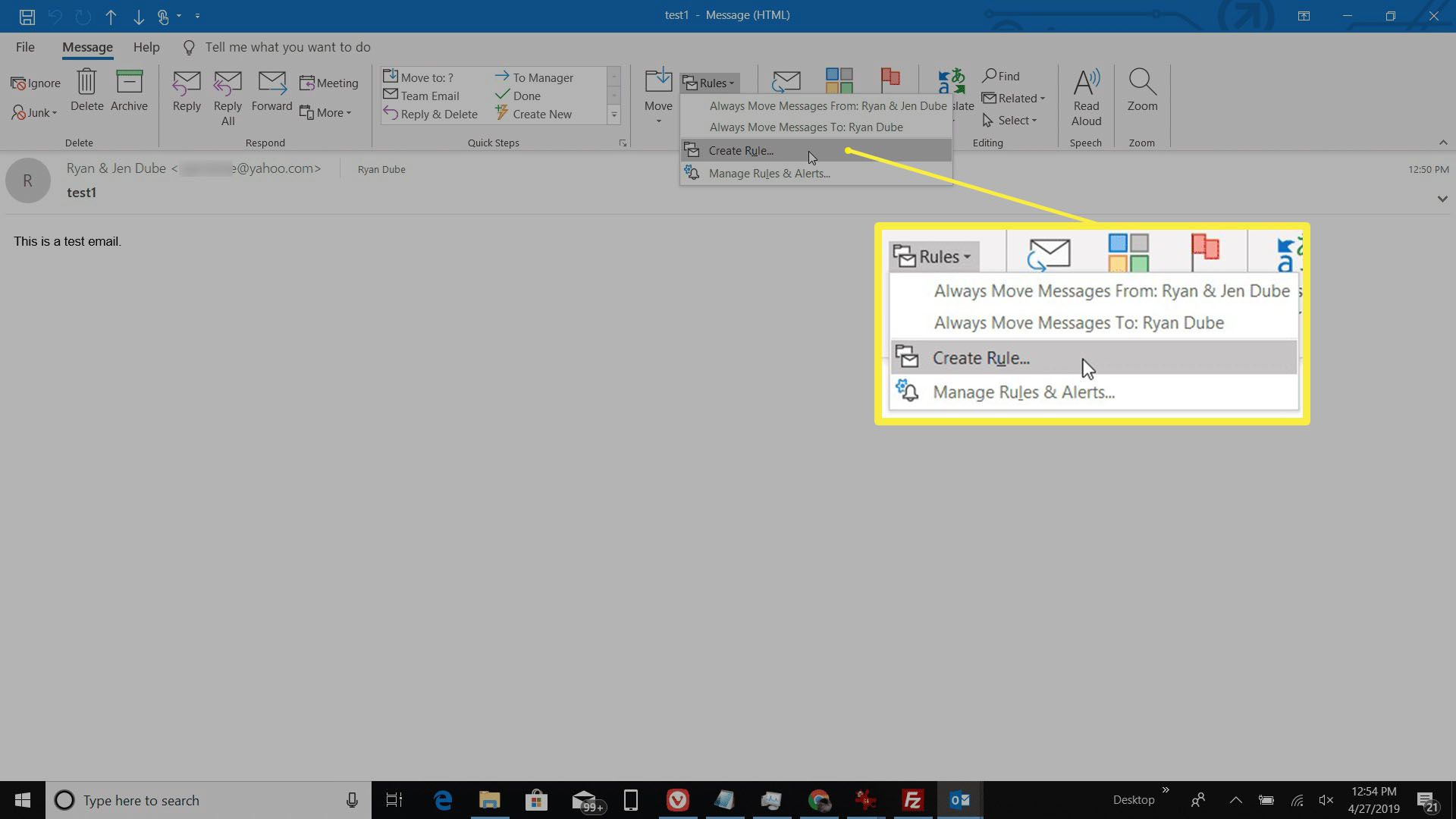 Screenshot of creating a rule in an email message in Outlook.