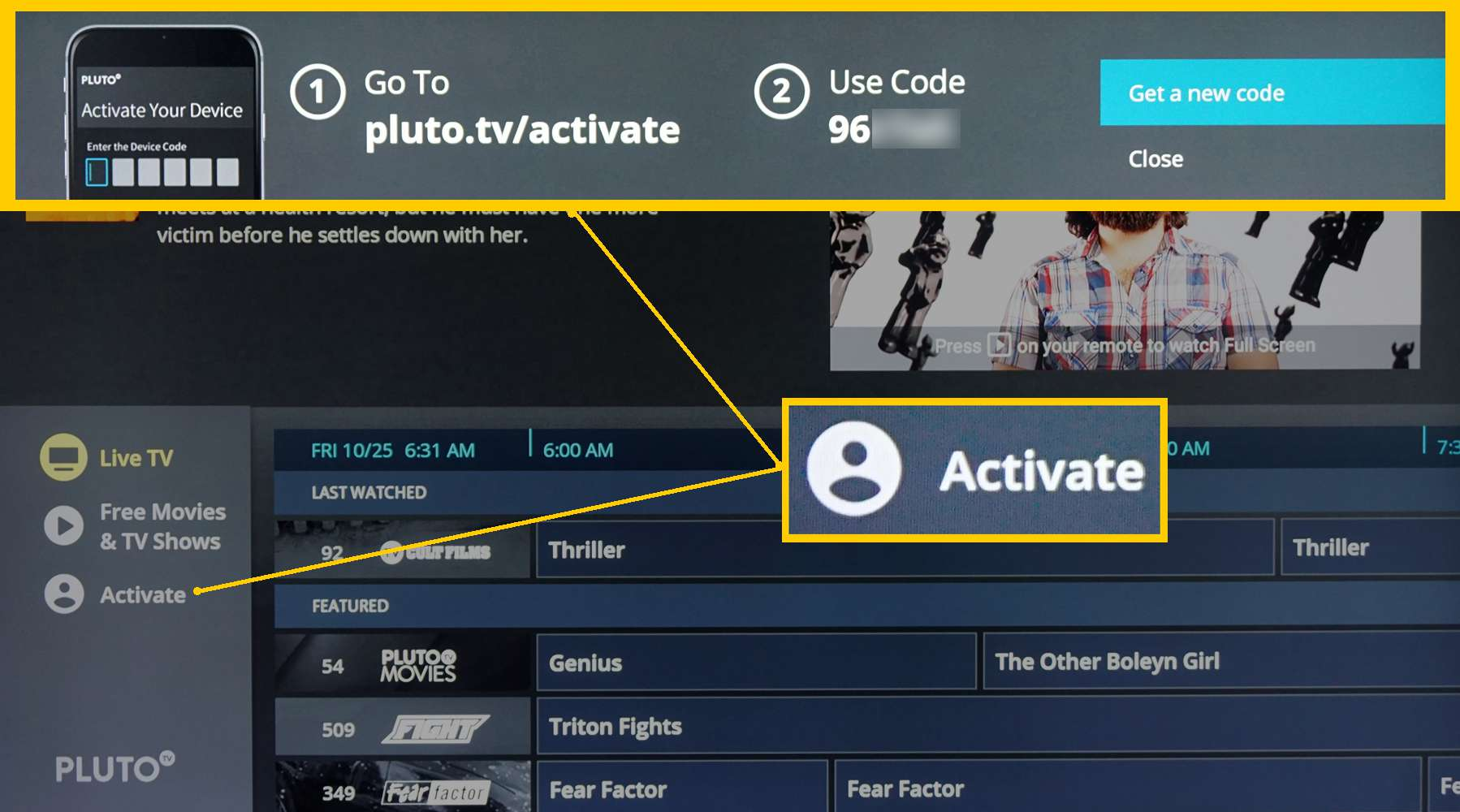 Pluto TV – Activate Prompt on TV Screen