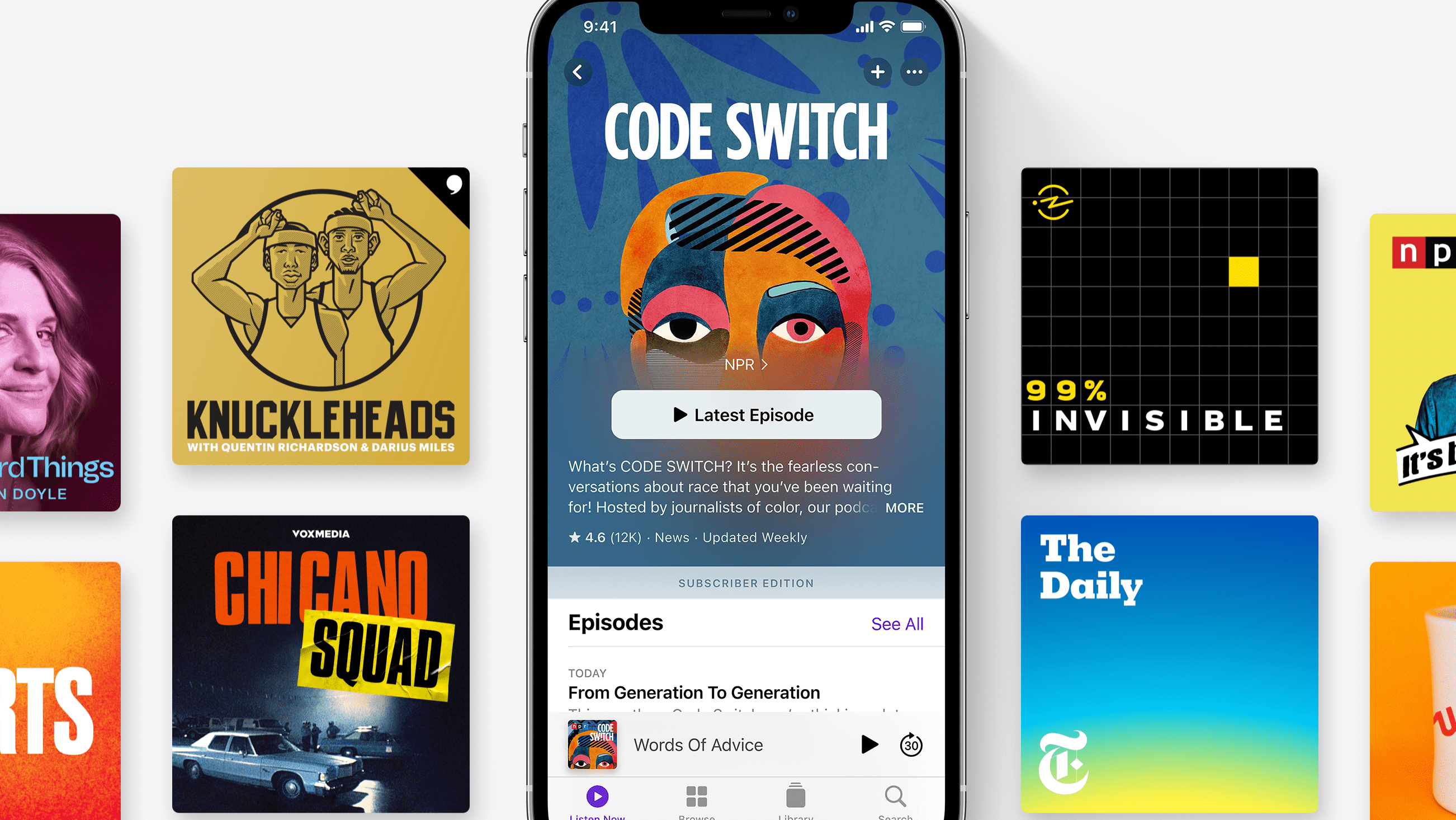 Code Sw!tch and cover are for a variety of other podcasts on Apple Podcasts