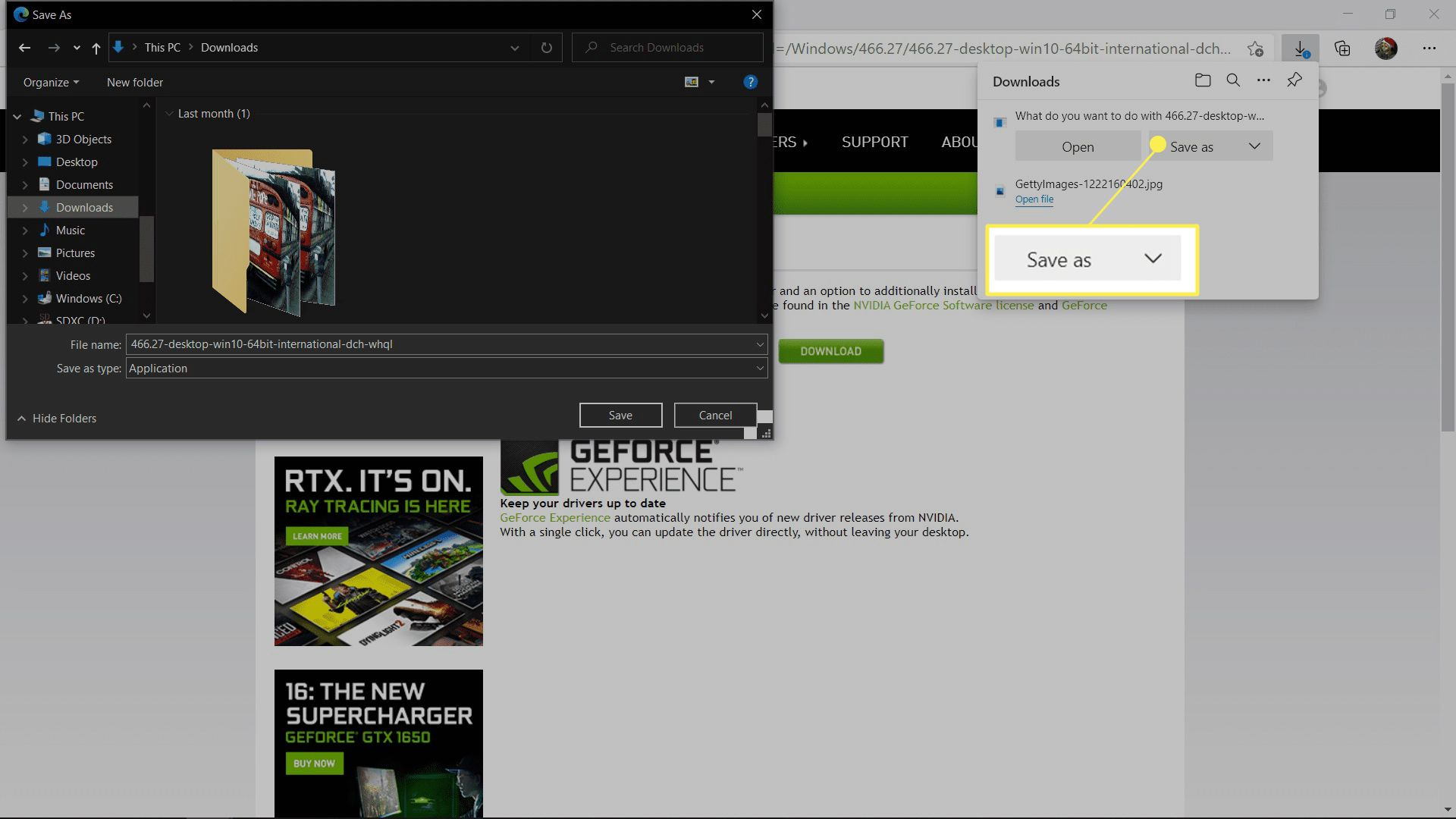 Saving an Nvidia driver with Save as highlighted