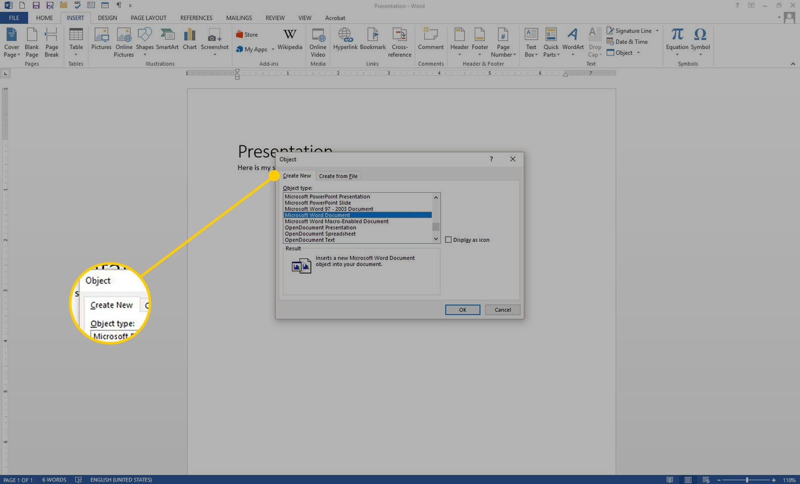 Object dialogue box with the Create New tab highlighted in Word