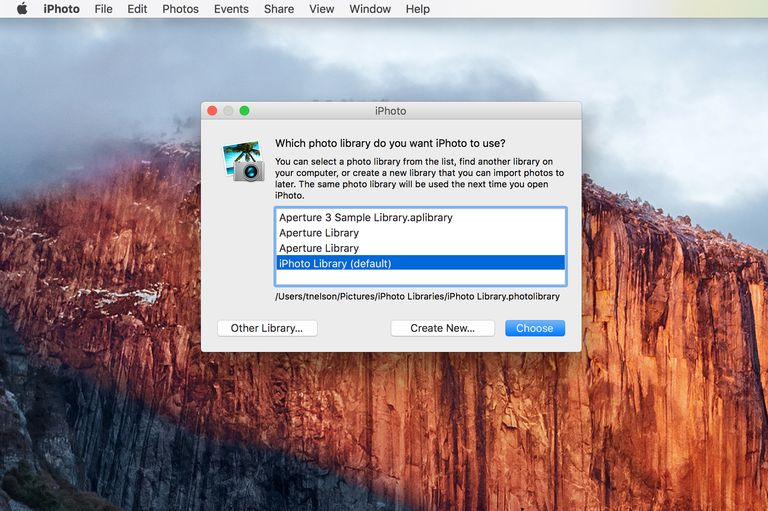 iPhoto Library Dialog box