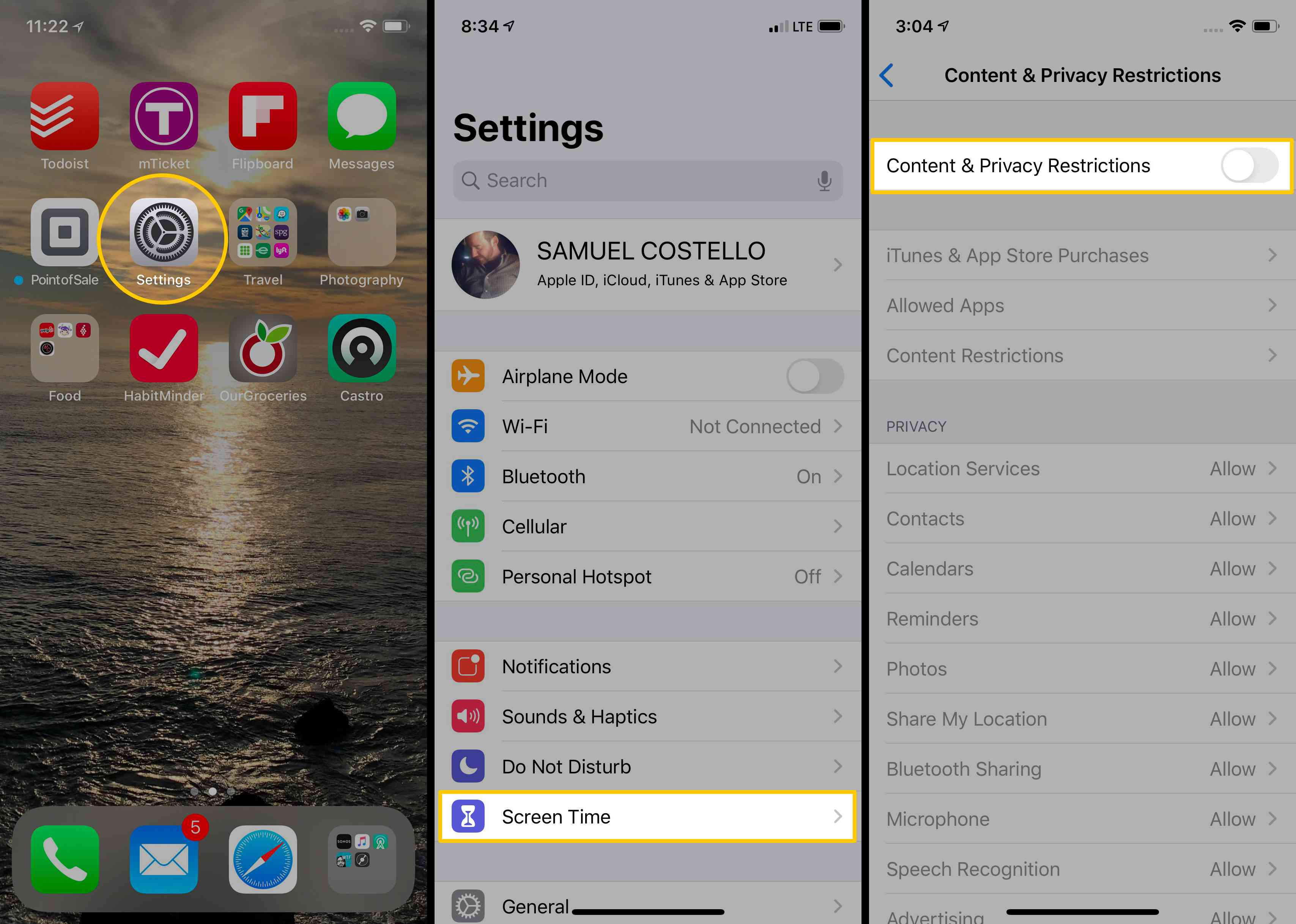 Screenshots showing how to navigate to Screen Time Content & Privacy Restrictions.