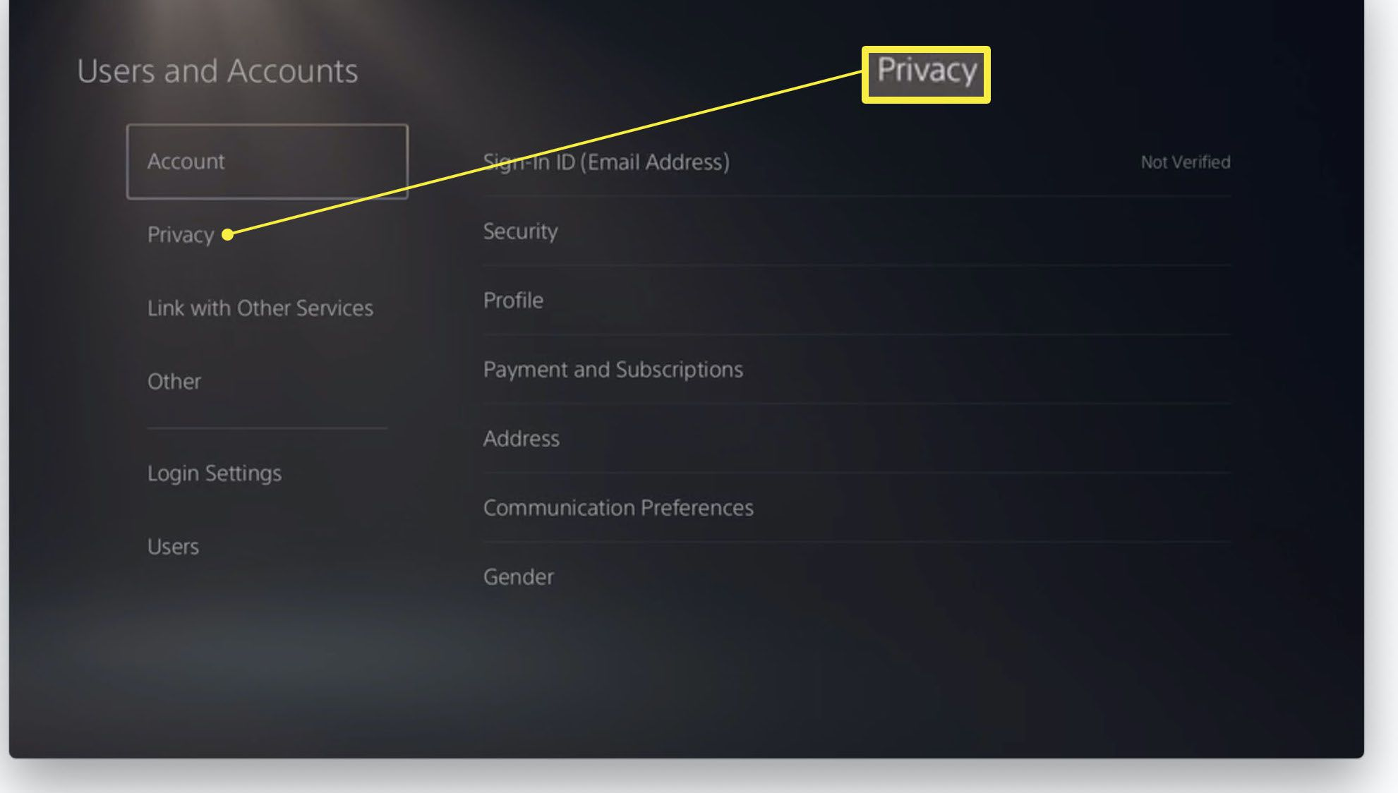 PlayStation 5 Users and Accounts settings with privacy highlighted