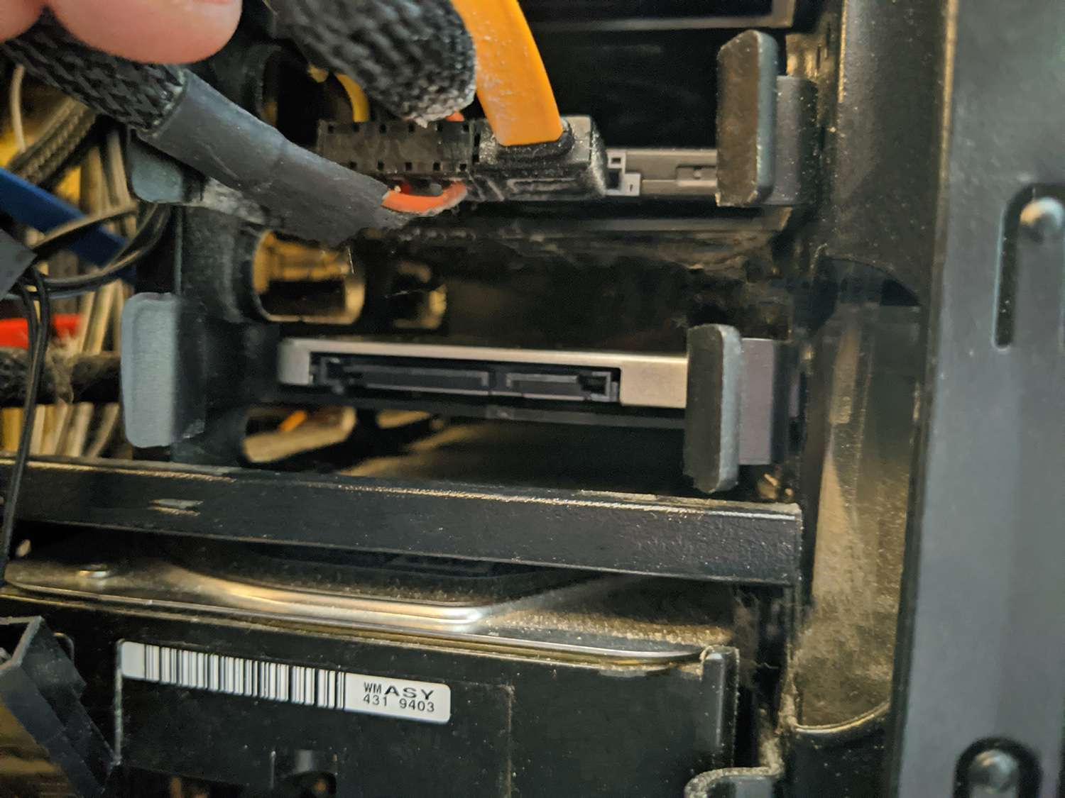 An SSD installed in a drive bay.