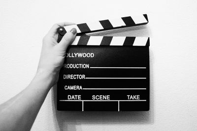 A video production slate.