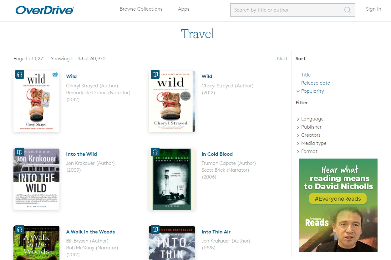 Screenshot of free travel ebooks on OverDrive