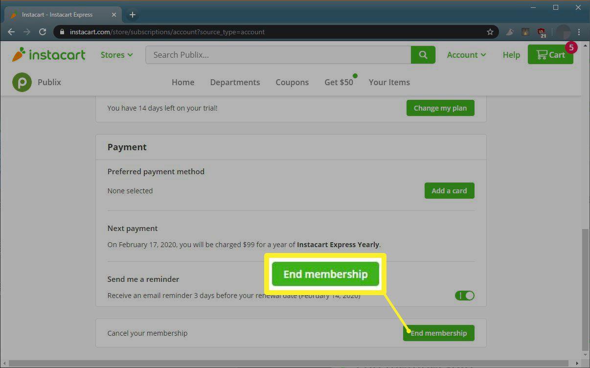 Instacart Express End membership button