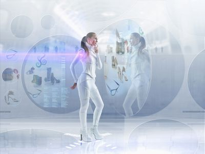 woman online shopping with holograms