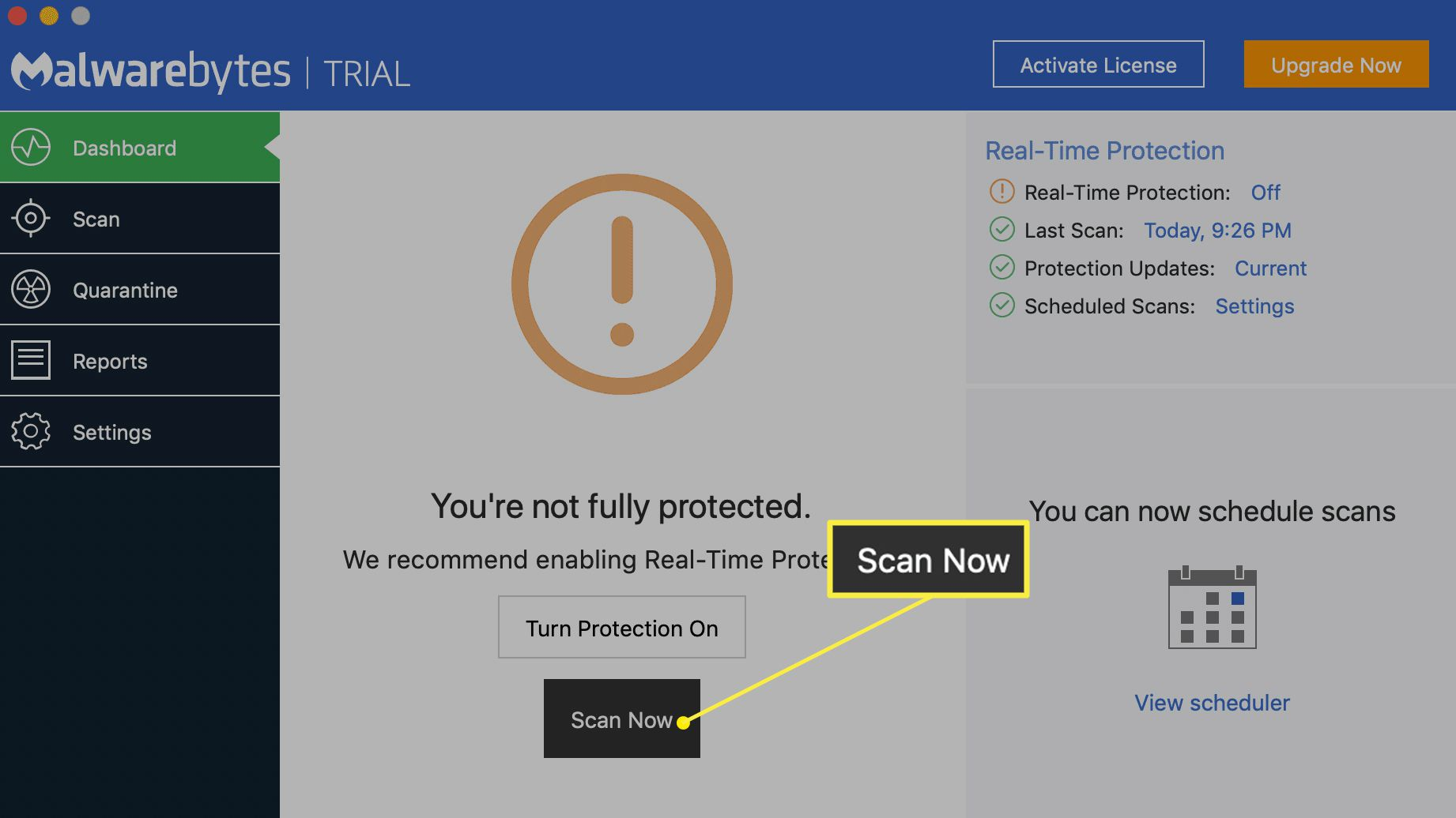 Malwarebytes for Mac with Scan Now selected