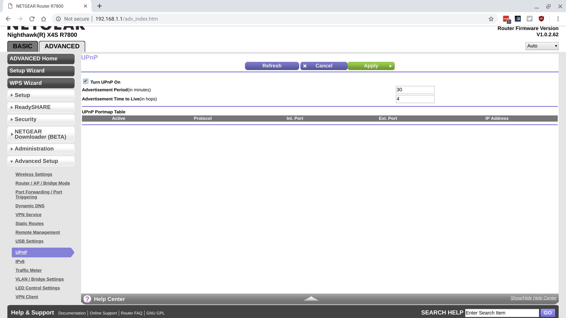 Screenshot of NetGear X4S R7800 router, with
