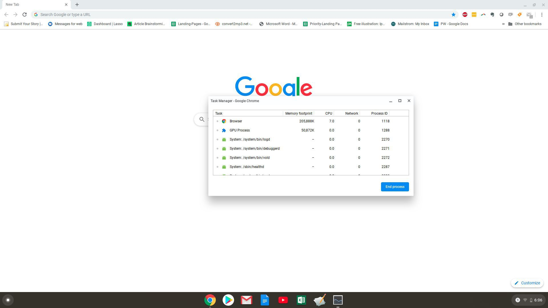 Screenshot of the Task Manager on Chromebook