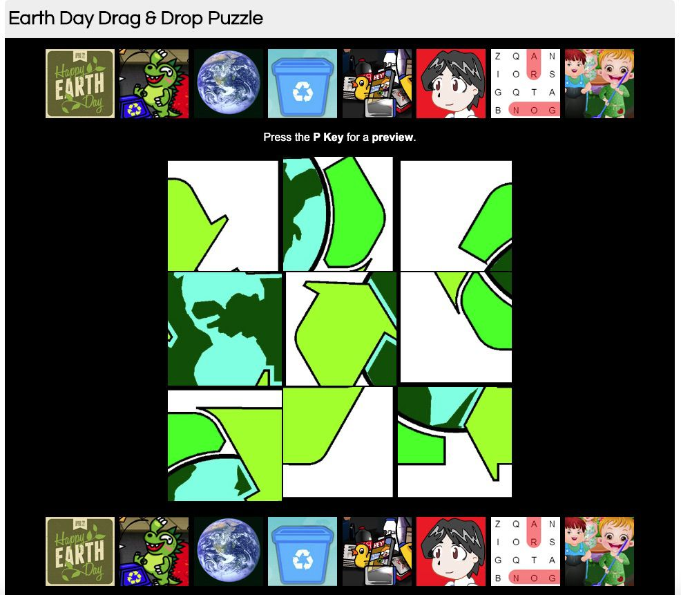 Earth Day Drag and Drop puzzle