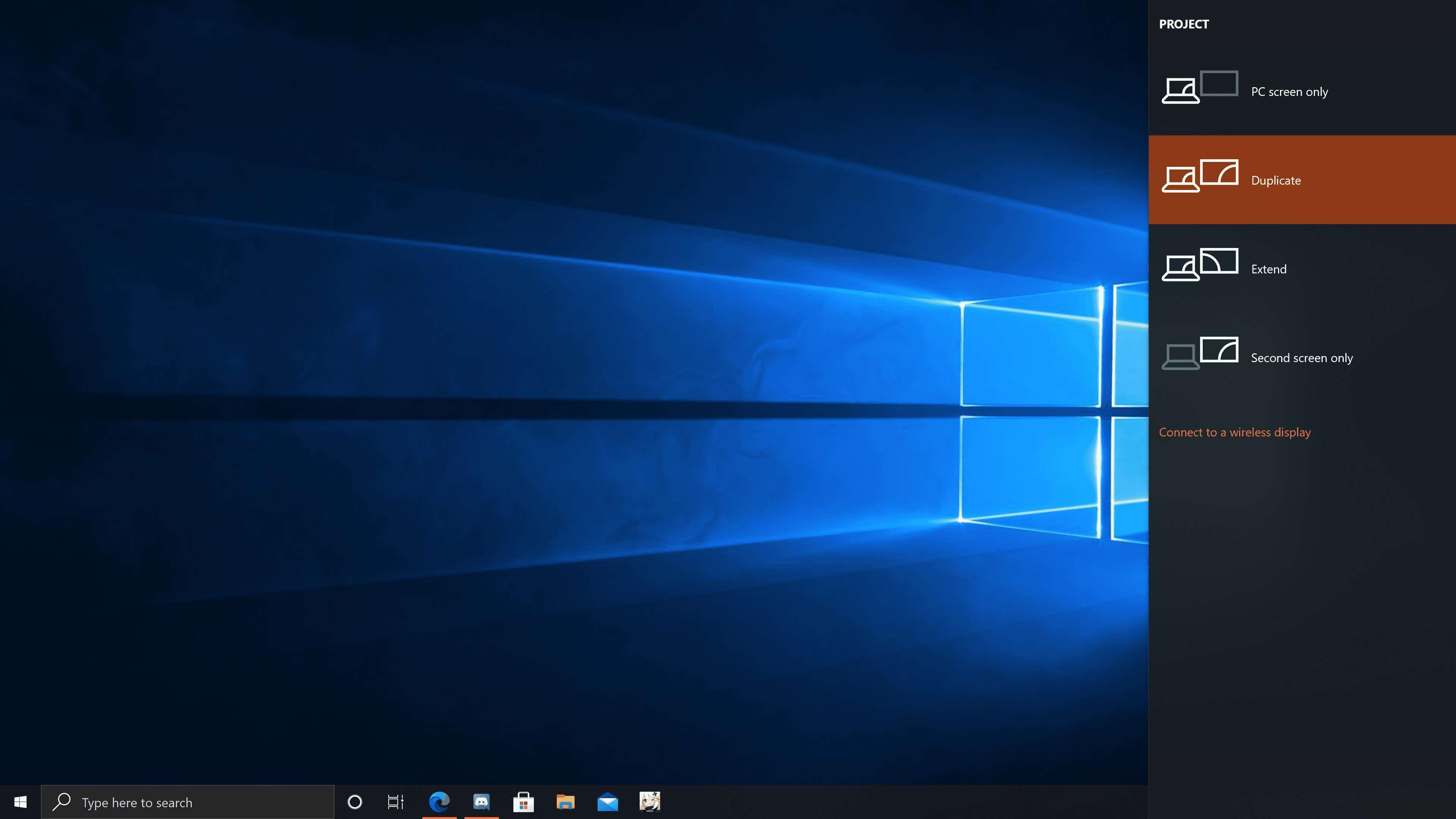 The Windows 10 Projection Menu