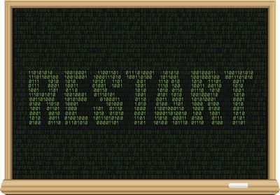 RESTART spelled in 1s and 0s on an illustration of a chalkboard