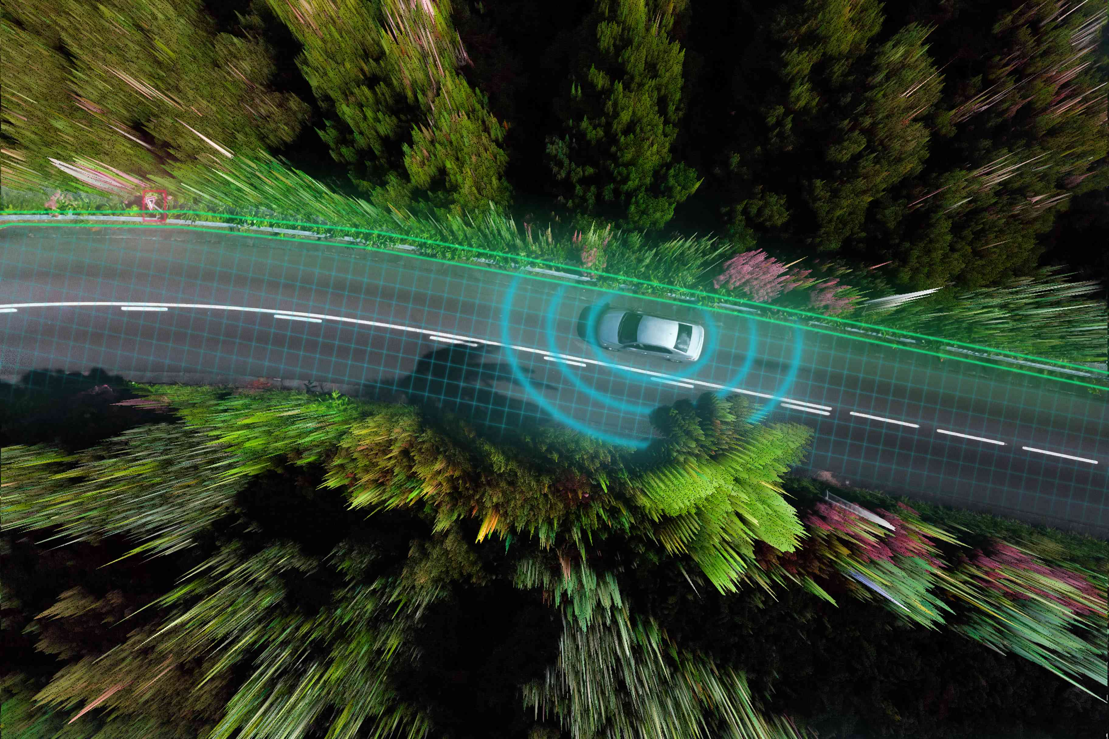 Smart car evaluating the road with sensors and futuristic technology.