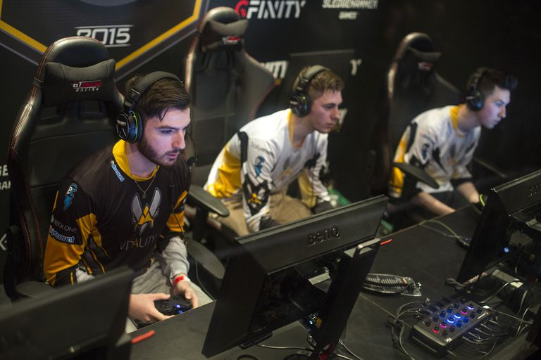 Team Vitality from France takes part in a qualifying match at the 2015 Call of Duty European Championships