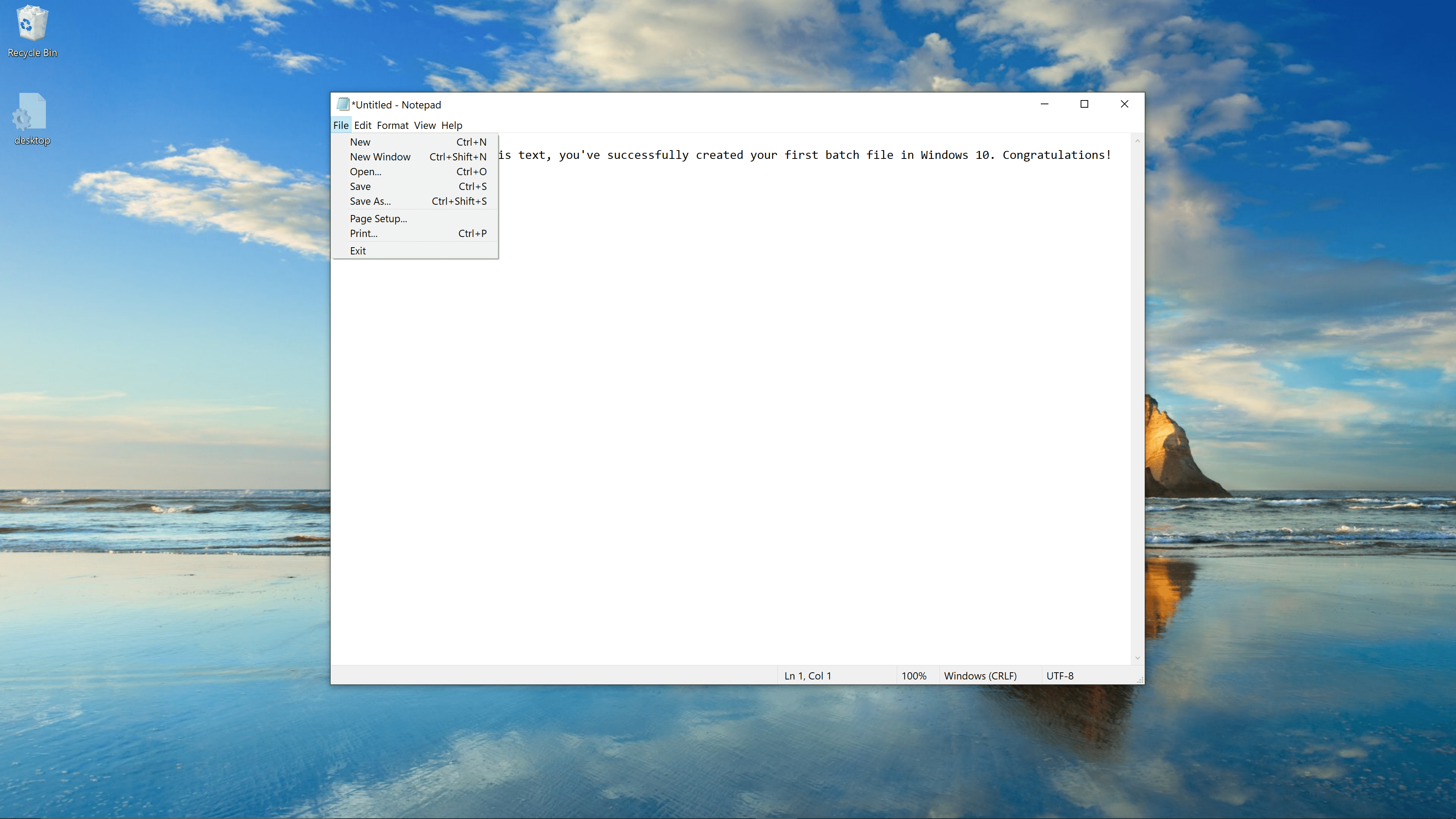 Saving a batch file in Notepad.