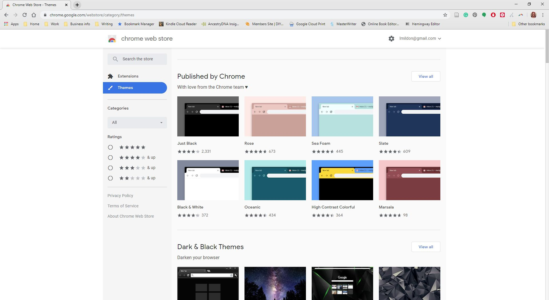 Chrome webstore displaying themes.