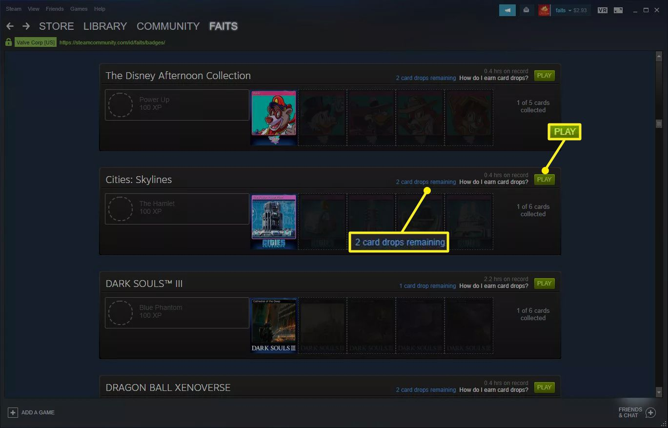The Steam Badget screen showing games with available badges