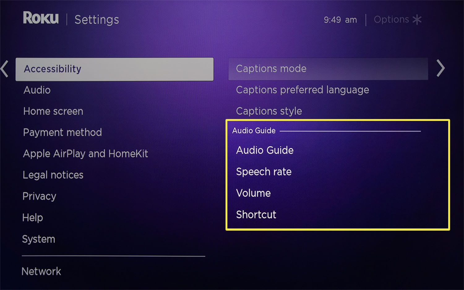 The Audio Guide section of the Roku Accessibility menu.