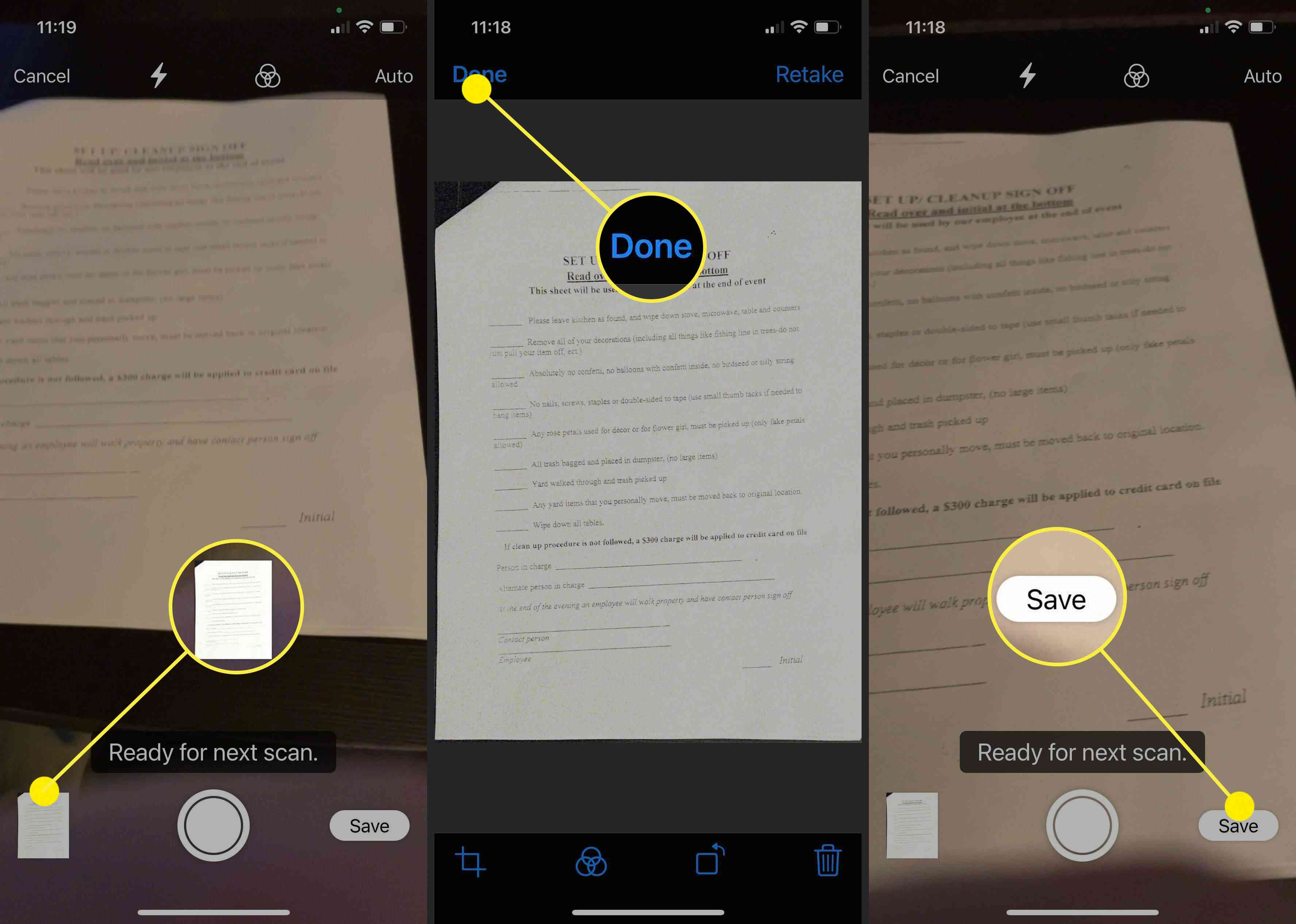Screenshots showing how to manage edit and send a scan from an iPhone to a Mac.