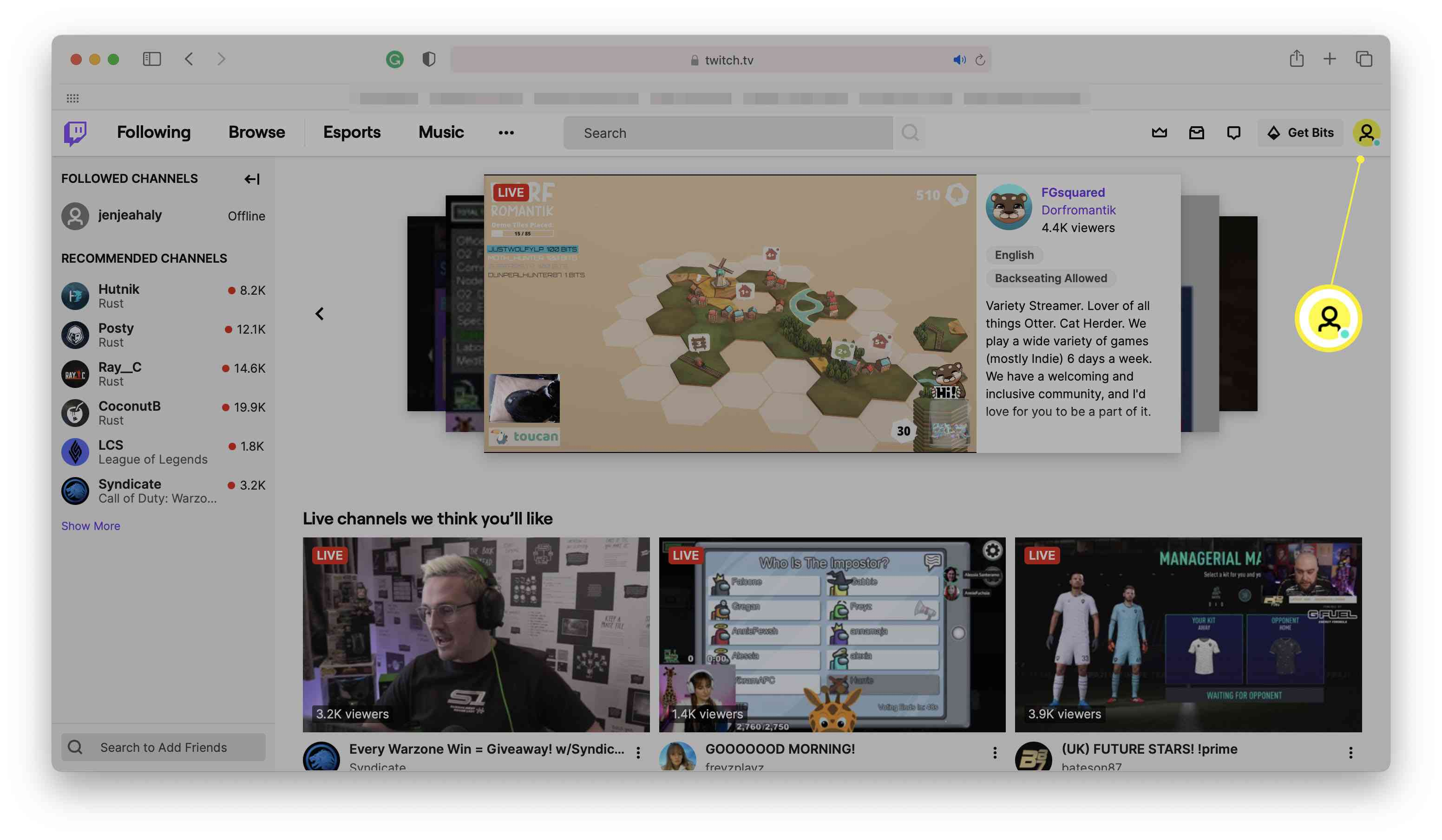 Twitch home page with profile image highlighted
