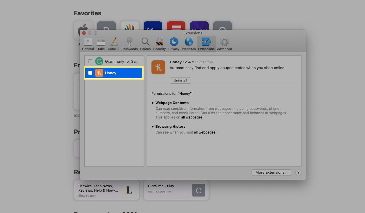 Select an extension, and then deselect the checkbox next to the extension to disable it.